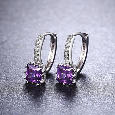 White Gold Plated Royal Purple Cubic Zirconia Hoop Earrings