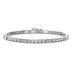 BERRICLE Rhodium Plated Sterling Silver Cubic Zirconia CZ Art Deco Tennis Bracelet #B280