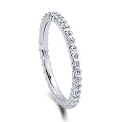 BERRICLE Rhodium Plated Sterling Silver Cubic Zirconia CZ Anniversary Stackable Eternity Band Ring #R448-15