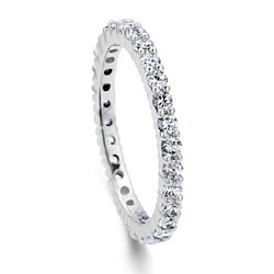 BERRICLE Rhodium Plated Sterling Silver Cubic Zirconia CZ Anniversary Stackable Eternity Band Ring #R448-20