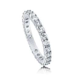 BERRICLE Rhodium Plated Sterling Silver Cubic Zirconia CZ Anniversary Stackable Eternity Band Ring #R448-25