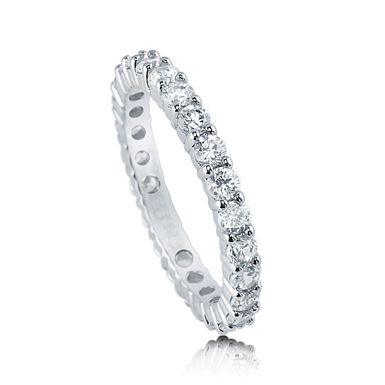 BERRICLE Rhodium Plated Sterling Silver Cubic Zirconia CZ Anniversary Eternity Band Ring Dxz8M