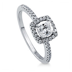 BERRICLE Rhodium Plated Sterling Silver Cushion Cut Cubic Zirconia CZ Halo Promise Engagement Ring #R577-CL