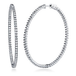 "BERRICLE Rhodium Plated Sterling Silver Cubic Zirconia CZ Fashion Inside-Out Hoop Earrings 2.2"" #E1000-01"