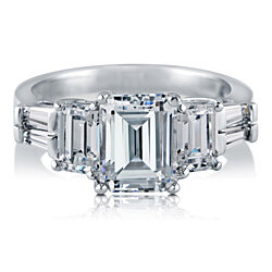 BERRICLE Rhodium Plated Sterling Silver Emerald Cut Cubic Zirconia CZ 3-Stone Engagement Ring #R893-01