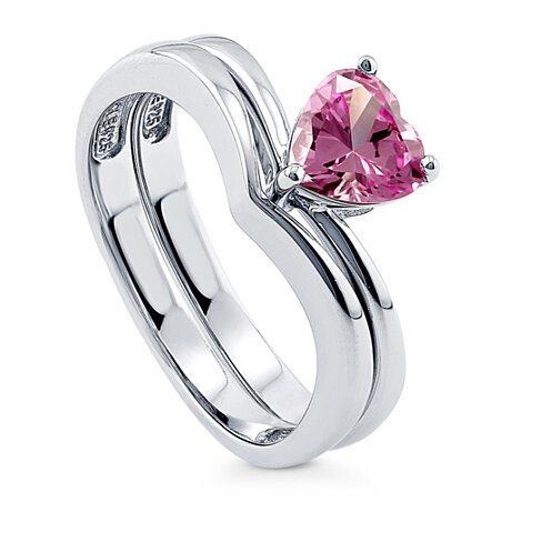 Buy BERRICLE 925 Silver 093 Carat Heart Shaped Pink Cubic