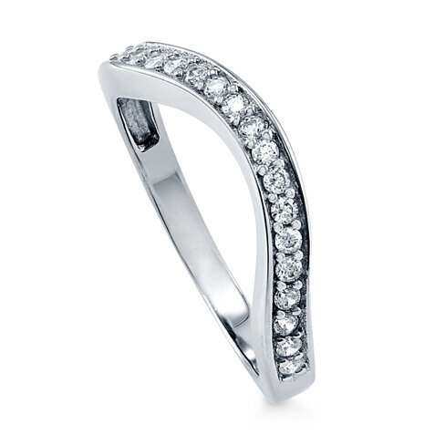 BERRICLE Rhodium Plated Sterling Silver Cubic Zirconia CZ Anniversary Curved Half Eternity Band Ring #R292-B