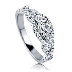 BERRICLE Rhodium Plated Sterling Silver 3-Stone Promise Engagement Ring Made with Swarovski Zirconia #R830-SWCL