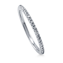 BERRICLE Rhodium Plated Sterling Silver Half Eternity Band Ring Made with Swarovski Zirconia #R831-SWCL