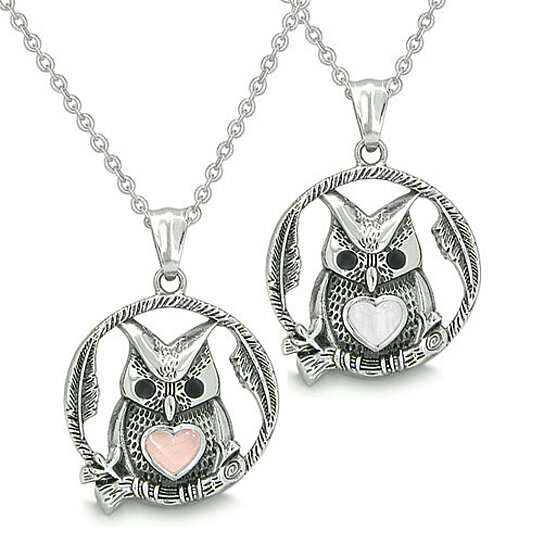 02f9be0ac03 Buy Amulets Owl and Cute Heart Love Couple and Best Friends Set Positive  Yin Yang Energy White and Light Pink Cat s Eye Stones Pendant Necklaces by  ...