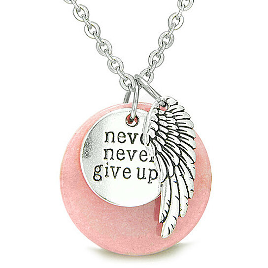 Buy angel wing and inspirational never never give up amulet magic buy angel wing and inspirational never never give up amulet magic circle medallion lucky charm candy pink jade pendant on 22 necklace by bestamulets on aloadofball Images