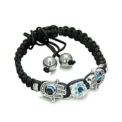 Evil Eye Protection Amulet and Magic Eye Hamsa Hands Black Knotted Cord Adjustable Bracelet with Hematite Gems Power Beads
