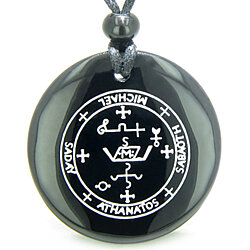 Sigil of the Archangel Michael Magical Amulet Black Onyx Magic Gemstone Circle Spiritual Powers Pendant Necklace