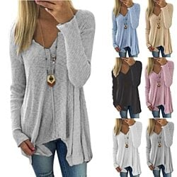 Women's Large Size Knit Pullover Fashion Women's Tops Long Sleeve Cotton Fabric T-Shirt