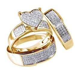 3Pcs/set Dazzling Heart Rings Jewelry Genuine Natural GemstoneParty Jewelry Ring Set
