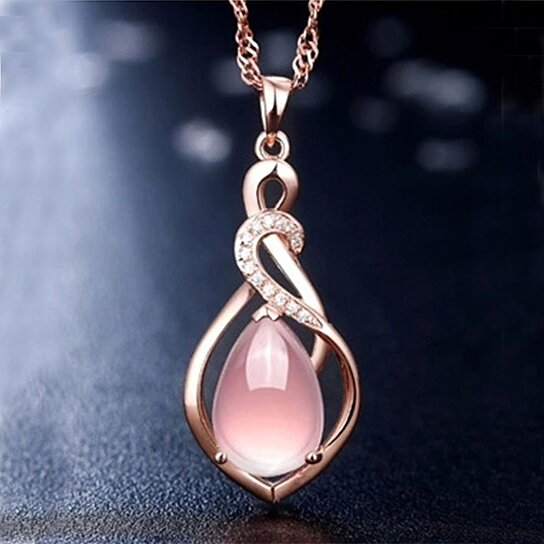 New Fashion Jewelry Women Rose Gold Plated 18K Diamond Tower and Heart Double Pendant Necklace