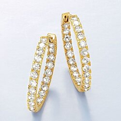 Dazzling Elegant Women Fashion 925 Sterling Silver Solid 14k Yellow Gold Earring Diamond Inside-Outside Hoop Earrings Fashion Jewelry