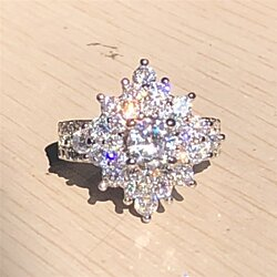 Luxury Jewelry 925 Silver Filled CZ Diamond Birthstone Rings for Women