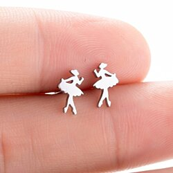 New Fashion Cute ballet Earrings Children Kids Jewelry Cartoon girl stainless steel Stud Earrings Gifts