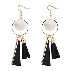 Tassel earrings female fashion shells circle wood earrings ethnic style handmade jewelry