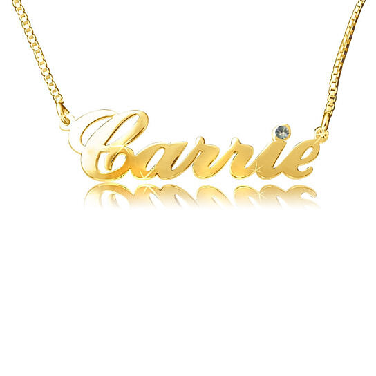 11942ee7004892 Buy CARRIE STYLE 24k Gold-Plated Double Thick Silver Name Necklace, with  Swarovski stone or crystal, up to 10 letters, by BNN Jewelry on OpenSky
