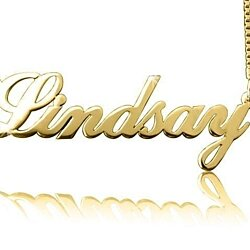 Lindsay style 14k Solid Gold Name Necklace, Nameplate Necklace, Personalized Name Necklace, Custom Name Necklace