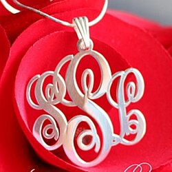 Customized Sterling Silver Monogram Initials Necklace