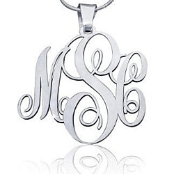 Sterling Silver Personalized Monogram Initials Necklace