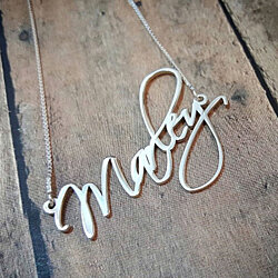 Monogram Style Free Hand Name Necklace Personalized, Custom Made Sterling Silver