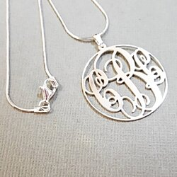 "Round Monogram Necklace 1.20""  wide Pendant Sterling Silver"
