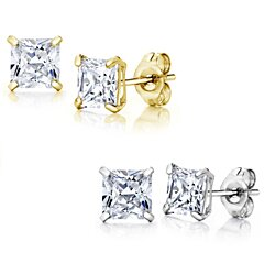 14K  Solid White/Yellow Gold Stud Earrings made w/Swarovski Elements