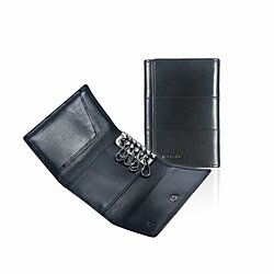 Ikepod Tri-fold Key Wallet/Holder [Full-grain Leather] 6 Hooks & 2 Card Slot