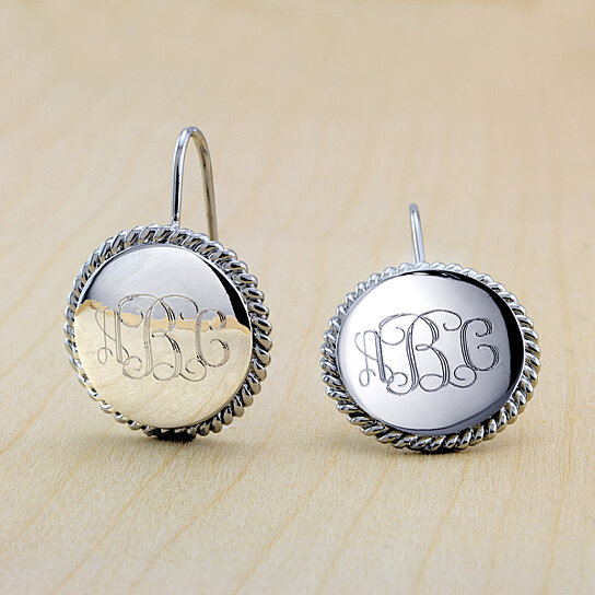 18k White Gold Plated Personalized Monogram Earrings