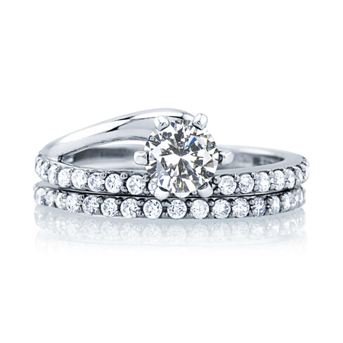 2 Piece Set-Sterling Silver Cubic Zirconia Ring Set