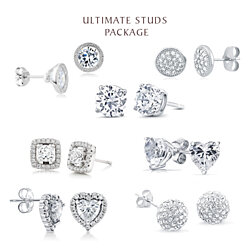 7 Pair Collection of White Gold + CZ Stud Earrings