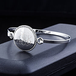 18K  White Gold Bangle with Personalized Braided Disc