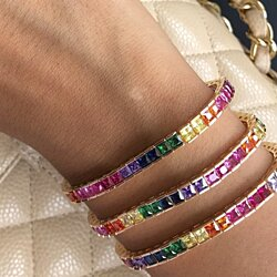 ColorFul Princess Cut Classic Tennis Bracelet