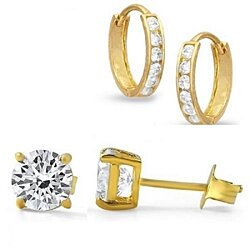 Cubic Zirconia GoldTone Hoop And Stud Set