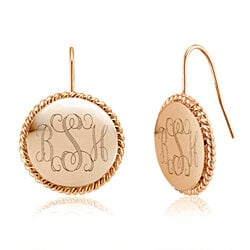 Personalized 18K Rose Gold Plated Braided Earrings