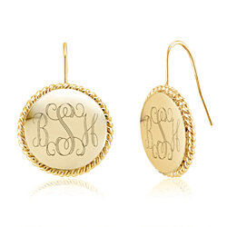 Personalized 18K Yellow Gold Plated Braided Earrings