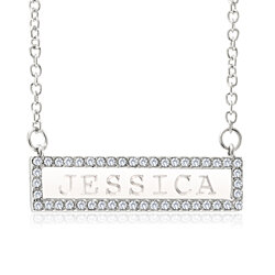 Personalized Cubic Zirconia Bar Drop Necklace