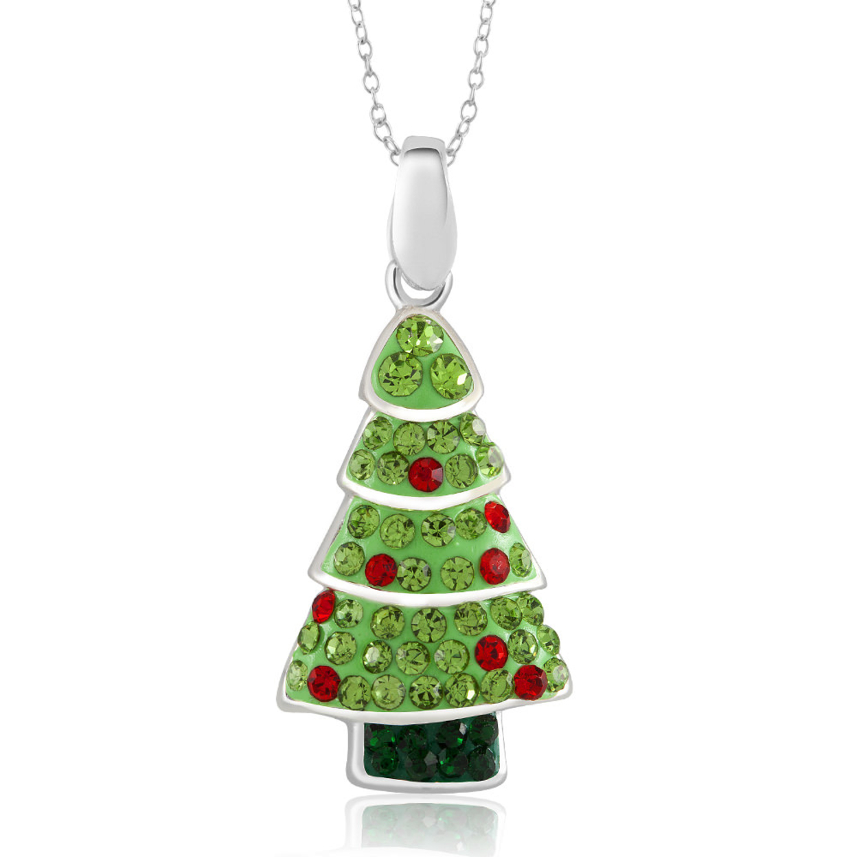 Crystal christmas tree necklace rhodium plated crystal christmas tree
