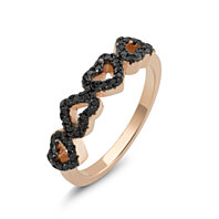 Rose Gold Plated Sterling Silver Black CZ Heart Ring