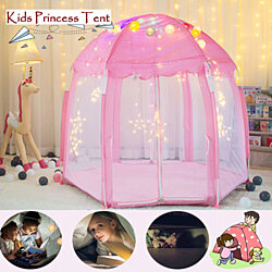 Princess Tent for Kids, Play Tents for Girls, Children Play House for Child, Play Tent for Kids (Pink, Including Led Lights)