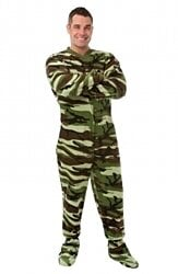 Green Camouflage  Micro Polar Fleece Adult Footed Onesie Pajamas for Men & Women