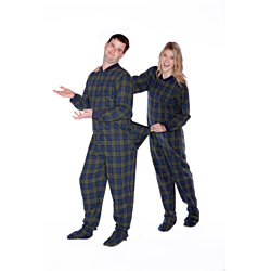 Navy & Green Plaid Cotton Flannel Adult Onesie Footed Pajamas for Men & Women