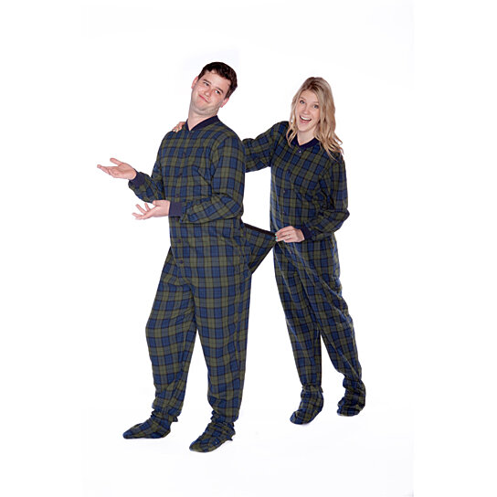 81eb866aa9be Trending product! This item has been added to cart 85 times in the last 24  hours. Navy   Green Plaid Cotton Flannel Adult Onesie Footed Pajamas for Men  ...