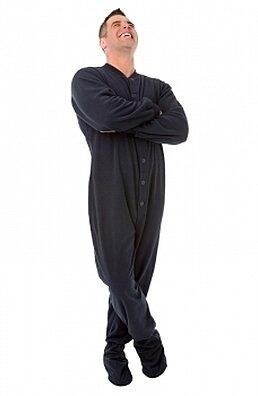 Navy Blue Micro Polar Fleece Footed Pajama Onesies for Men   Women 2af5ce59e