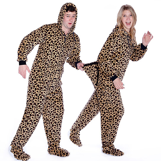 10902436df Buy Plush Hoodie Footed Leopard Onesie Pajamas for Men   Women by Big Feet  Pajama Company on OpenSky