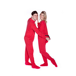 Red Cotton Jersey Knit Adult Footie Footed Pajamas